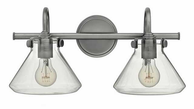 "Congress 19 1/4""W Clear Glass Antique Nickel Bath Light - Style # 5D171 - Lamps Plus"