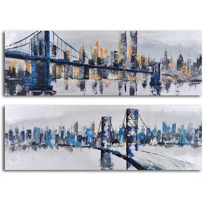 'City Suspensions' 2 Piece Original Painting on Wrapped Canvas Set - AllModern
