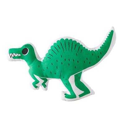 "Green Dinosaur Retro Reptile Throw Pillow - 12""Wx19""H - Polyester fill - Land of Nod"