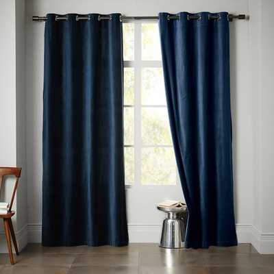 "Velvet Window Panel, 124"" Regal Blue - West Elm"