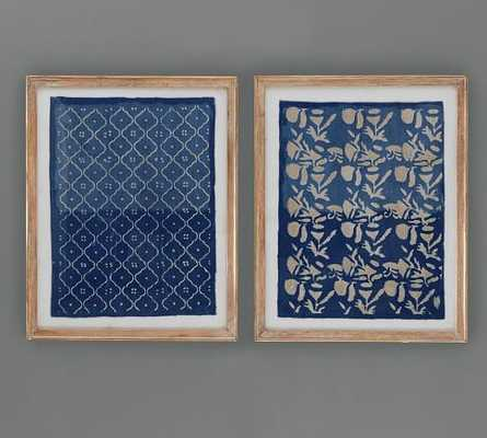 "BLUE TEXTILE ART - SET OF 2 -24"" wide x 30"" high x 0.75"" thick-wood Frame - Pottery Barn"