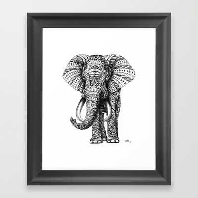 "Ornate Elephant - FRAMED ART PRINT/SCOOP BLACK MINI (10"" X 12"") - Society6"