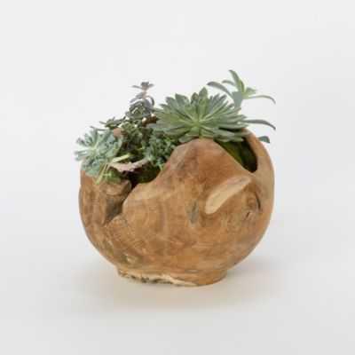 Carved Teak Footed Planter - shopterrain.com