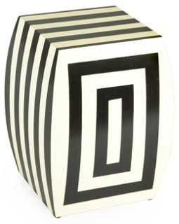 Freida Stool, Black/Cream Stripe - One Kings Lane