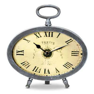 Vintage Metal Decorative Clock - Silver - Target