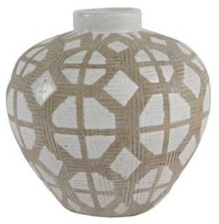 "5"" Graphic Vase, Taupe - One Kings Lane"