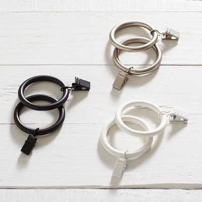 Classic Steel Curtain Rings With Clips - 0.75'', Brushed Nickel - Pottery Barn Teen