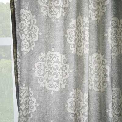 "Scroll Medallion Curtain - Feather Gray, 96"" - West Elm"