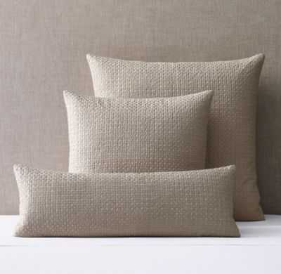 """METALLIC EMBROIDERED LINEN PILLOW COVER- Dune/Silver- 10"""" x 28""""- Insert sold separately - RH"""