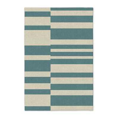 Offset Stripe Wool Dhurrie - Lapis - West Elm
