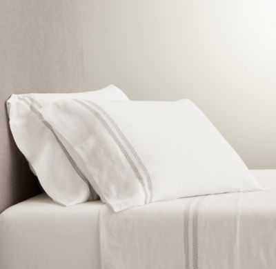 BELGIAN LINEN VINTAGE HEMSTITCH SHEET SET - QUEEN, WHITE - RH
