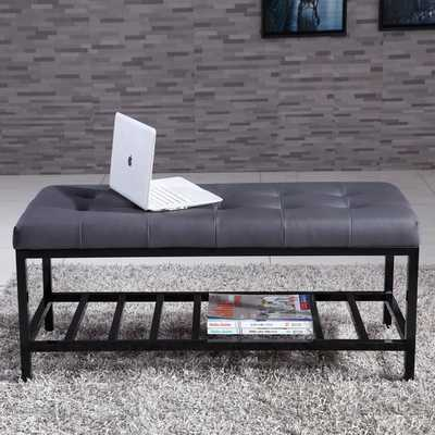 Signature Designs Modern Metal Tufted Ottoman Bench - Overstock