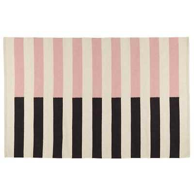 Pink Half Stripe Rug - Land of Nod