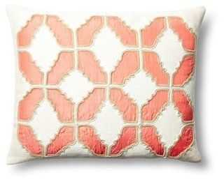 Baroque Cotton Pillow, Coral - One Kings Lane