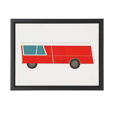 Time to Ride Wall Art (Fire Engine)/Framed - Land of Nod