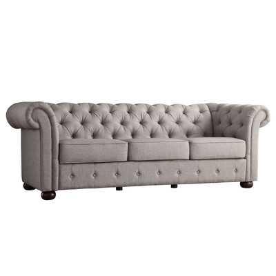 Ivy Tufted Button Linen Sofa - Grey - Wayfair