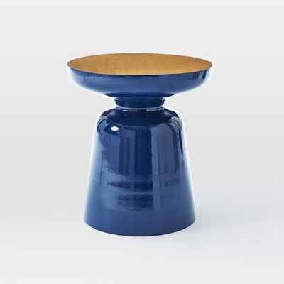 Martini Two Tone Side Table - Ink Blue/Antique Brass - West Elm