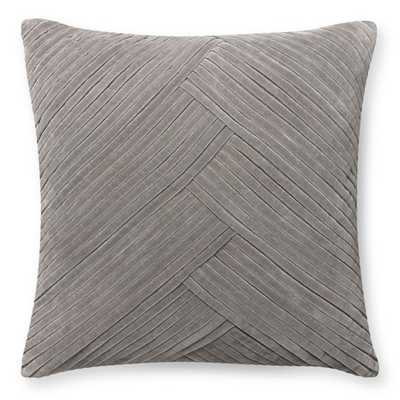 """Pleated Velvet Pillow Cover, Steeple Grey -22"""" x 22"""" -Insert not included - Williams Sonoma Home"""