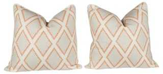 Coral & Ivory Linen Pillows, Pair - One Kings Lane