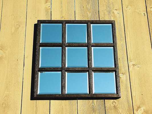 Handmade Solid Wood Detailed Metallic Black Mirror Window Panel - Etsy