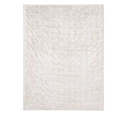 "FAUX FUR THROW - 50"" x 60"" - Ruched Ivory - Pottery Barn"