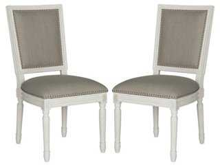 Light-Gray Lucy Side Chairs, Pair - One Kings Lane