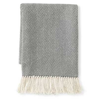 Mini Chevron Cotton Throw, Gray - Williams Sonoma