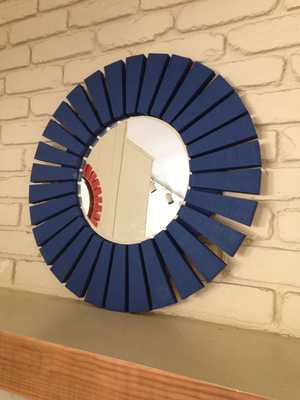 Navy Blue Sunburst Handmade Wood Frame Round Mirror - Etsy