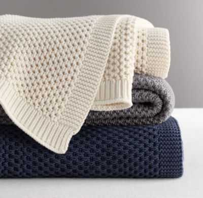 Chunky cotton knit throw - Navy - RH Baby & Child