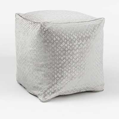 Metallic Velvet Diamond Pouf-with insert - West Elm