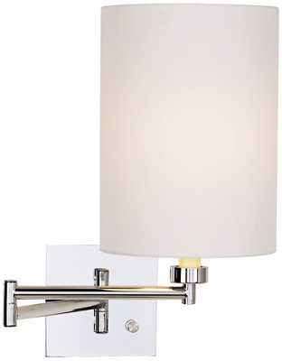 White Cotton Drum Shade Chrome Plug-In Swing Arm Wall Lamp - Lamps Plus