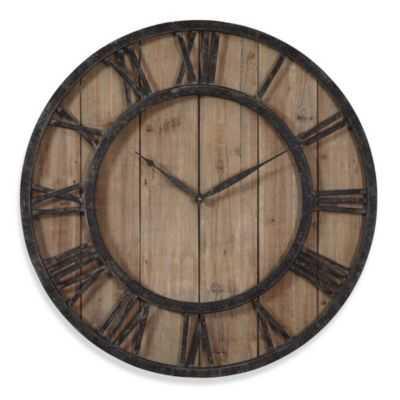 Uttermost 30-Inch Wooden Wall Clock in Rustic Dark Bronze - Bed Bath & Beyond