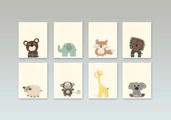 "Baby Nursery Art - Set of 6 - 8"" x 10"" - Unframed - Etsy"