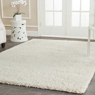 California Cozy Solid Ivory Shag Rug (5'3 x 7'6) - Overstock