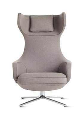 Grand Repos Lounge Chair and Ottoman in Fabric - Design Within Reach