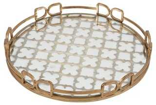 "16"" Quatrefoil Tray, Gold/White - One Kings Lane"