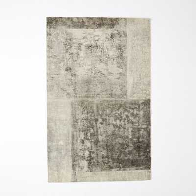 Distressed Rococo Wool 6'x9' Rug - Platinum - West Elm