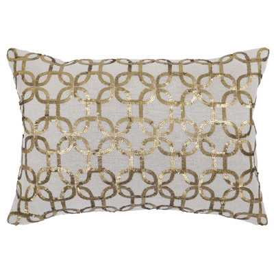 "Gilded Cotton Throw Pillow-  14"" H x 20"" W x 5"" D- Gold- Down/Feather fill insert - Wayfair"