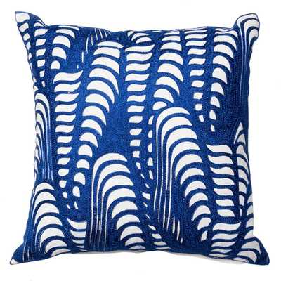 Embroidery On Cotton Base Pillow Blue - Domino