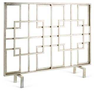 Silver Squares Fire Screen - One Kings Lane