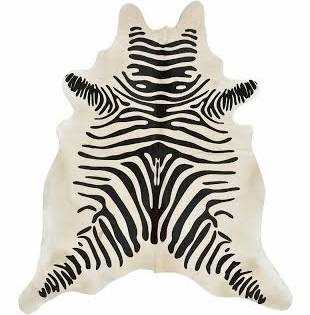 Black and Beige Zebra Print Hide Rug - High Fashion Home