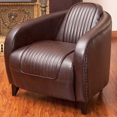Christopher Knight Home Pamela Channeled Brown Leather Club Chair - Overstock