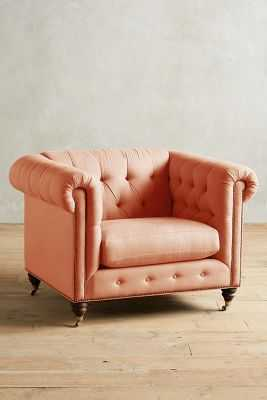 Belgian Linen Lyre Chesterfield Armchair, Hickory - Apricot - Anthropologie