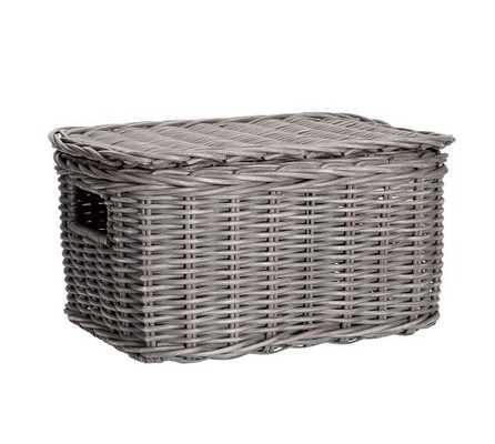 Wicker Weave Lidded Basket, MEDIUM - Pottery Barn