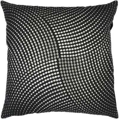 "Divine Dots Cotton Throw Pillow, Black/Silver - 18"" Sq. - Polyester insert - AllModern"