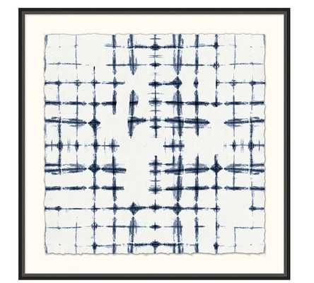 "SHIBORI CROSS HATCH PRINT - 36.25"" Sq. - Matte Black Frame with Mat - Pottery Barn"