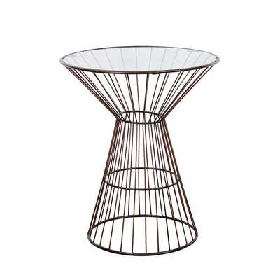 Bronze Wire Frame Tall Side Table with Glass Top - Overstock
