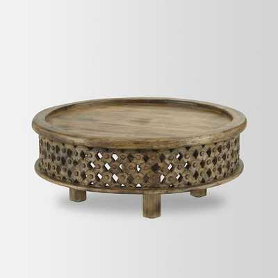 Carved Wood Coffee Table - Domino