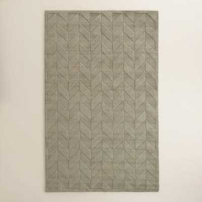 Gray Chevron Carved Wool Bennet Area Rug - World Market/Cost Plus
