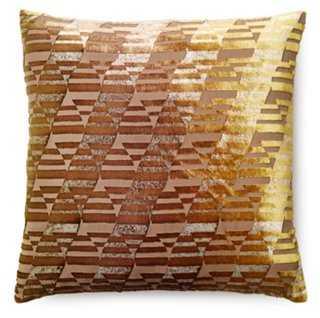 Ogee 16x16 Velvet Pillow, Golden Olive - One Kings Lane